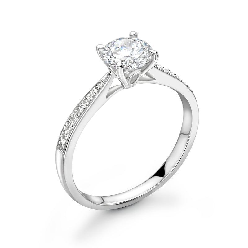 Madison - Solitaire Round Brilliant, Shoulder Set Ring