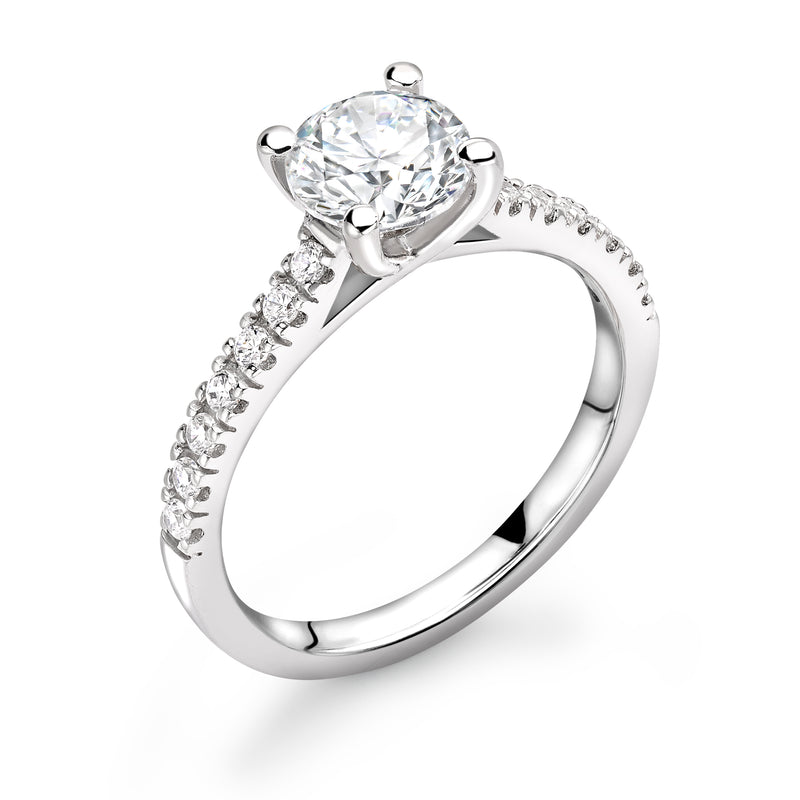 Ella - Solitaire Round Brilliant, Shoulder Set Ring