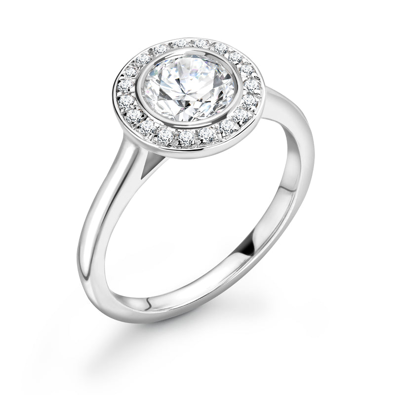 Kinsley - Round Brilliant Halo Ring