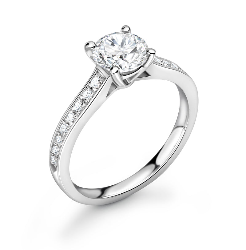Skylar -  Solitaire Round Brilliant, Shoulder Set Ring