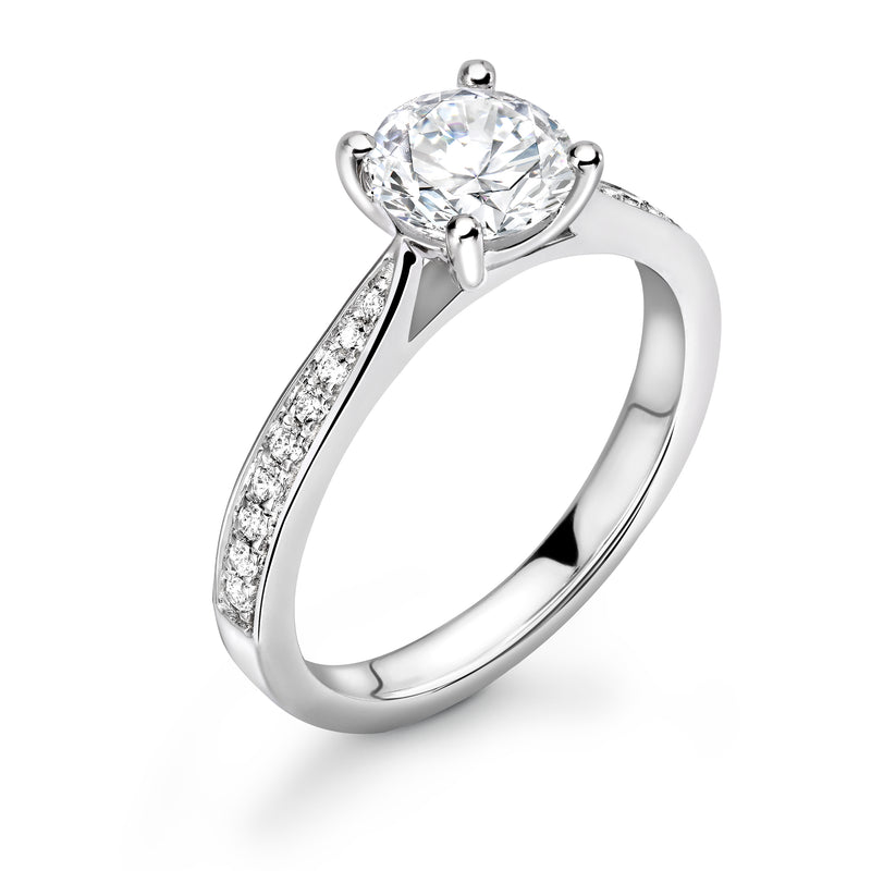 Sophia - Solitaire Round Brilliant Shoulder Set Ring