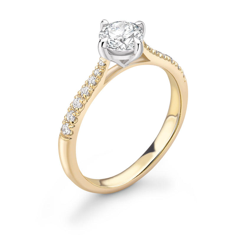 Emma -  Solitaire Round Brilliant Shoulder Set Ring