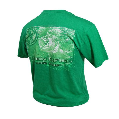 Distressed Bass Tee Kelly Green