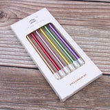 Metallic long thin candles - 6 pieces - Socialness