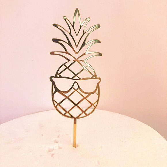 Pineapple gold acrylic cake topper