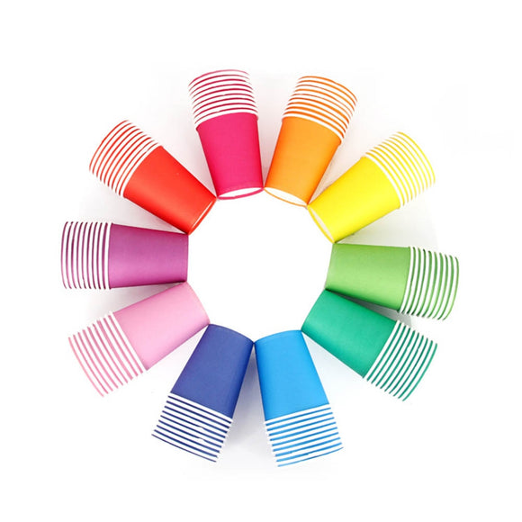 Pure colour rainbow party cups - 10 pieces - Socialness