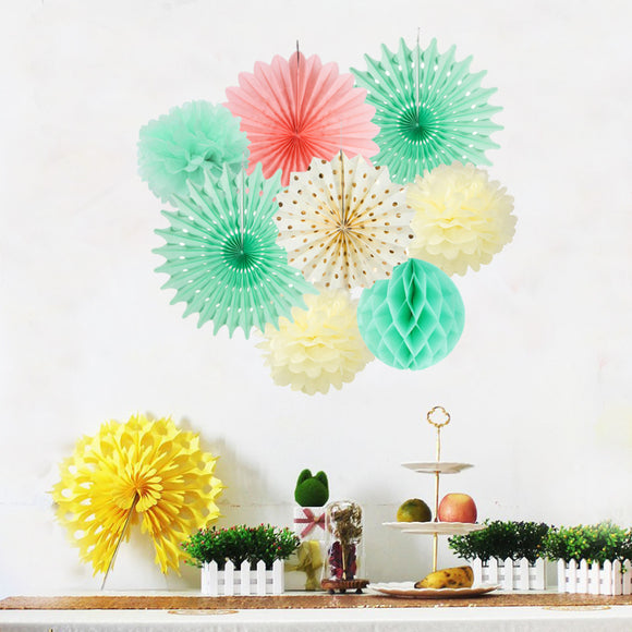 Pastel party paper decoration set - 8 pieces - Socialness