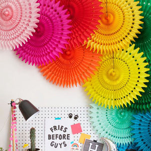 Paper fan pinwheels - 5 pieces - MIXED COLOURS - Socialness