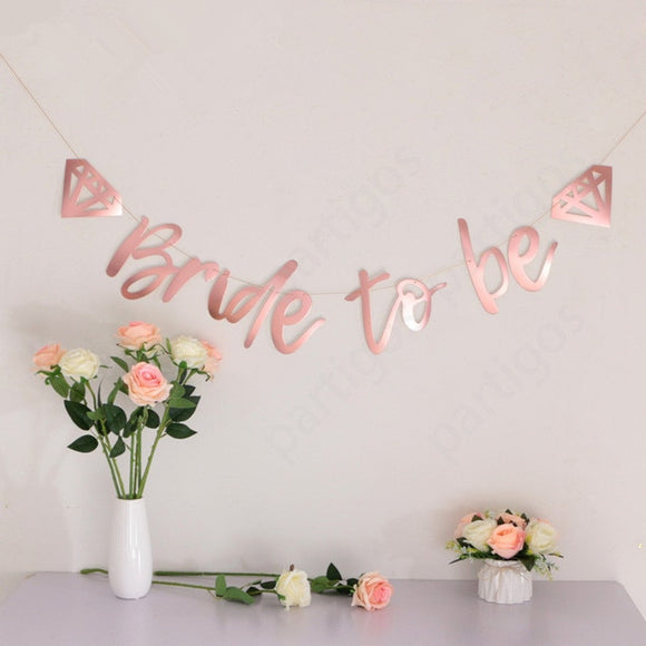 Bride to be rose gold banner - Socialness