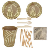 Gold palm leaf party set - serves 8 - Socialness