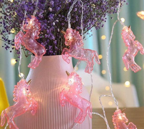 Pink unicorn string lights