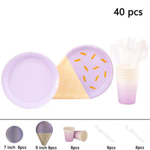 Pastel ice cream party set - serves 8 - Socialness