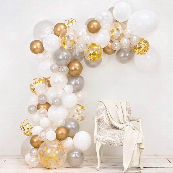 Gold & silver balloon garland kit - 98 pieces