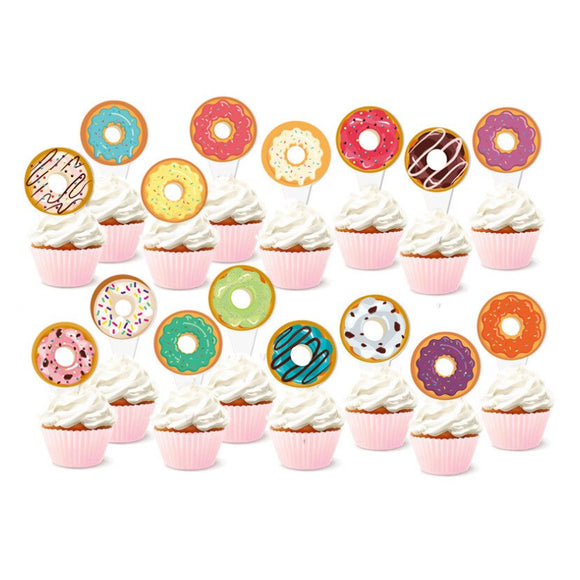 Donut party cake toppers - 16 pieces - Socialness