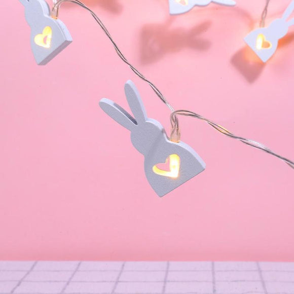 Wooden rabbit LED string lights - Socialness