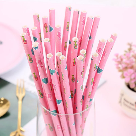 Mermaid biodegradable drinking straws - 25 pieces - Socialness