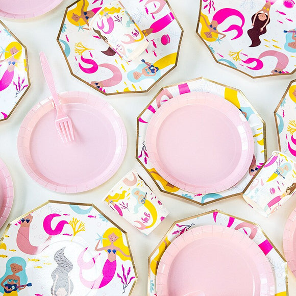Little mermaid pink party set - serves 8 (57 pieces) - Socialness
