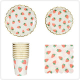 Strawberry gold trim party set - serves 8 (40 pieces) - Socialness