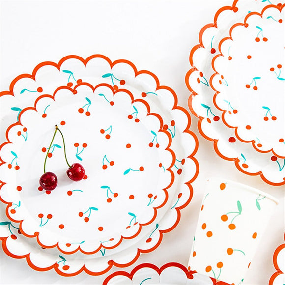 Cherry print party set - serves 8 (40 pieces) - Socialness