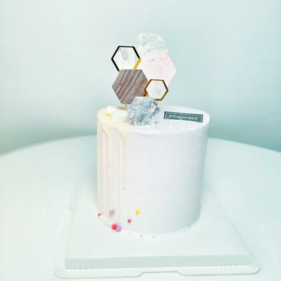 Marble hexagon cake toppers - 6 pieces - Socialness