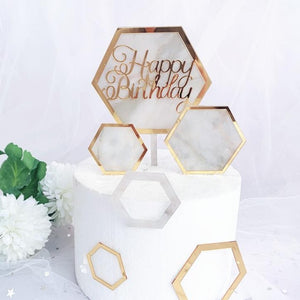Marble acrylic birthday cake toppers - Socialness