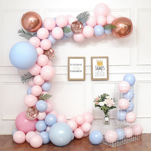 Pastel macaron pink blue balloon garland kit - 60 pieces