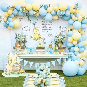 Pastel macaron blue yellow balloon garland kit - 133 pieces