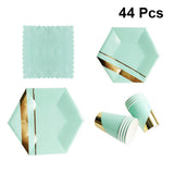 Mint gold hexagonal party tableware set - serves 8 (44 pieces)