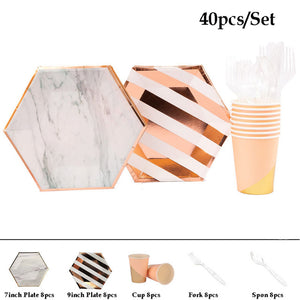 Rose gold marble hexagonal party tableware set - serves 8 (40 pieces)