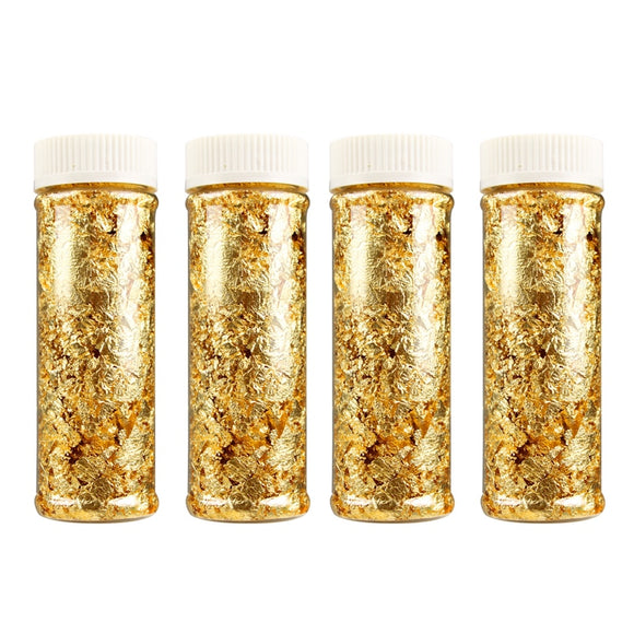 100% pure 24K edible gold leaf flakes - 2g x 5 pieces