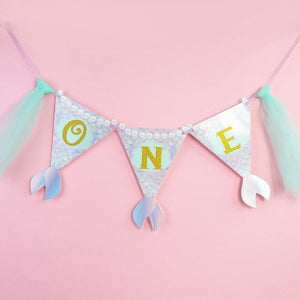 Mermaid 'One' 1st Birthday banner