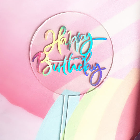 Iridescent rainbow 'Happy Birthday' acrylic cake topper