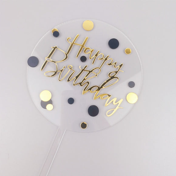 Happy Birthday dot acrylic cake topper