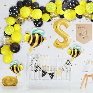 Bumble bee black yellows balloon garland kit - 84 pieces
