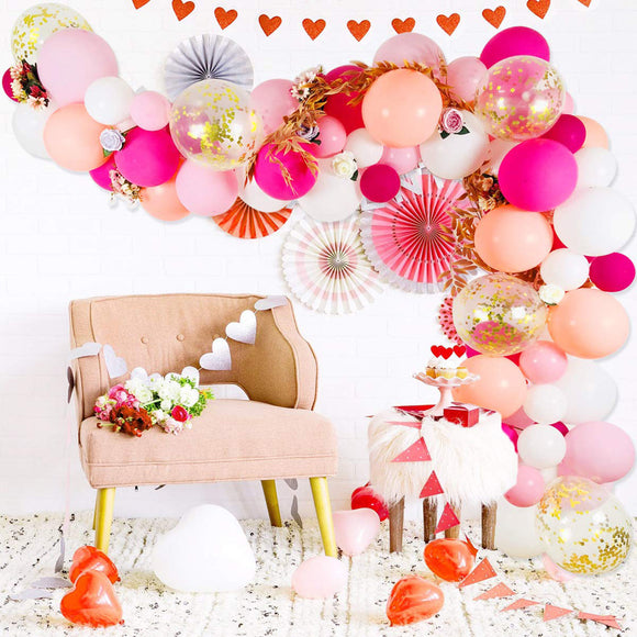 Flamingo pink balloon garland kit - 75 pieces