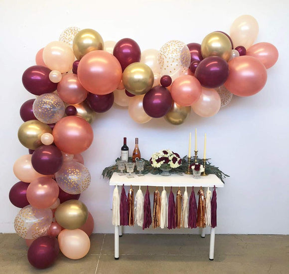 Burgundy gold balloon garland kit - 100 pieces