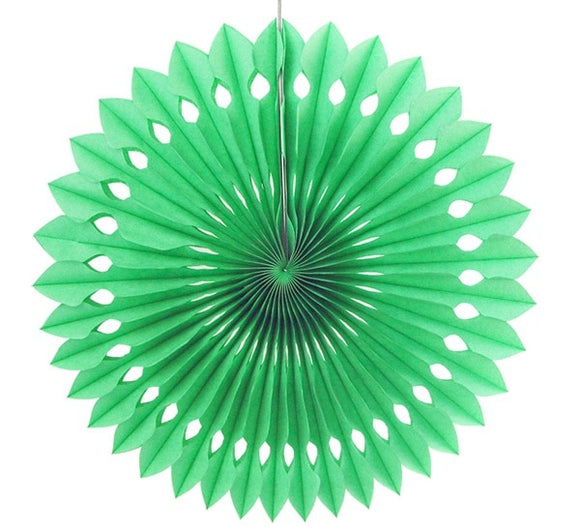 Paper fan pinwheels - 5 pieces - lime green - Socialness