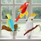 Vivid honeycomb hanging parrots - 3 pieces - Socialness