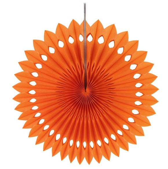 Paper fan pinwheels - 5 pieces - orange - Socialness