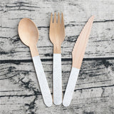Glitter gold/ silver wooden party cutlery - serves 4 (12 pieces) - Socialness