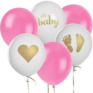 Oh baby balloon set - 12 pieces (pink, blue, gold) - Socialness