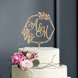Personalised wreath initials cake topper