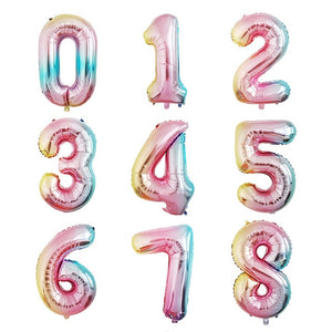 Rainbow number foil balloons - Socialness