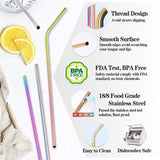 Reusable stainless steel rainbow straws - 8 pieces - Socialness