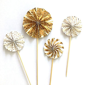 Mini paper fan cupcake toppers - 4 pieces - Socialness