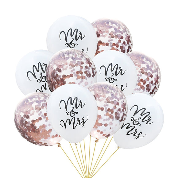 Mr & Mrs confetti balloon set - 10 pieces - Socialness