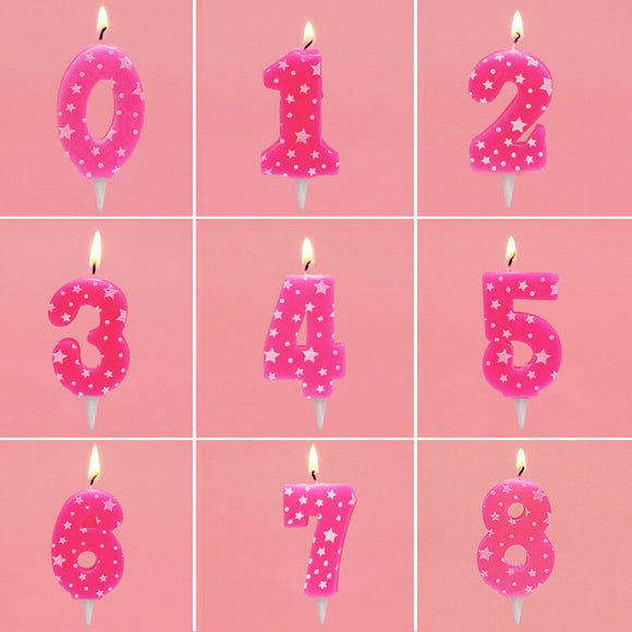 Pink star number candles - Socialness