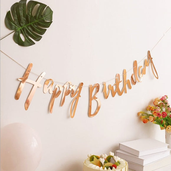 Happy Birthday Banner - rose gold/ gold/ silver - Socialness