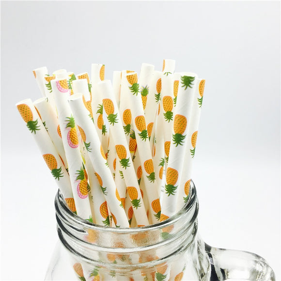 Pineapple biodegradable drinking straws - 25 pieces - Socialness