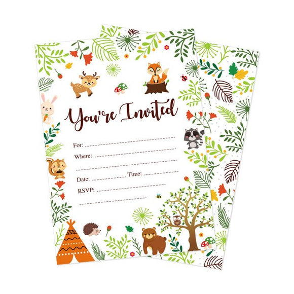 Woodland animal party invitations - 10 pieces - Socialness